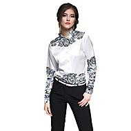 Dames Chinoiserie Lente Zomer Overhemd,Casual/Dagelijks Werk Print Overhemdkraag Lange mouw Wit Katoen Dun