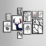 Абстракция Цветочные мотивы/ботанический Животные Холст в раме Набор в раме Предметы искусства,ПВХ материал Черный Без коврика с рамкой