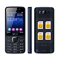 quad sim mobiltelefon quad band 2,8 tommer fire sim-kort, bluetooth, mp3, mp4.gprs, keyboard (guld / sort)