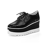 Women's Oxfords Spring Fall Creepers Comfort Ankle Strap PU Casual Wedge Heel Creepers Lace-up Black White Walking
