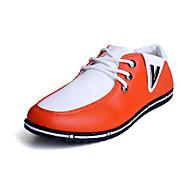 Herre-PU-Flat hæl-Komfort-Oxfords-Fritid-Oransje Hvit / Blå Svart hvit