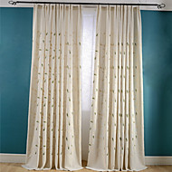 Room Darkening Linen Embroidered Leaf Curtains Drapes Two Panel