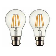 6W B22 LED žárovky s vláknem G60 6 COB 600 lm Teplá bílá Stmívací AC 220-240 AC 110-130 V 2 ks