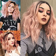 Peach Wave Synthetic Lace Front Wig with Dark Roots Heat Resistant High Quality Fashion New Arrival Ombre Hair Water Wave Light Pink Short Wig