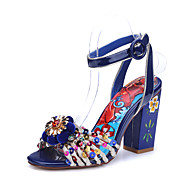 Women's Sandals Summer Comfort Ankle Strap Cowhide Wedding Party & Evening Dress Chunky Heel Crystal Applique Sequin Buckle Blue Walking