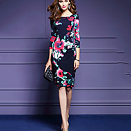 Women's Going out Vintage Bodycon Dress,Floral Round Neck Knee-length ¾ Sleeve Polyester Blue Spring High Rise Micro-elastic