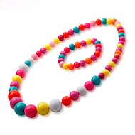 Girls The New Beautiful Lovely Fashion Color Beads Necklace Bracelet  Two-Piece Outfit