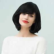 bob medium tilbøyelig bang naturlig wavyhuman hår parykk