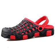 メンズ-カジュアル-PUレザー-フラットヒール-穴の靴-サンダル-コーヒー レッドとブラック