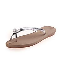 Pantofle a Žabky-Koženka-Na prst-Dámské-Fialová Stříbrná Champagne-Běžné Šaty-Plochá podrážka