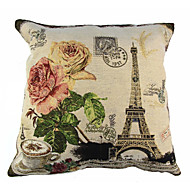 RayLineDo® Linen Cotton Square Throw Pillow Cover Eiffel Tower Decorative Pillow Case CTJZ21-PC-ET