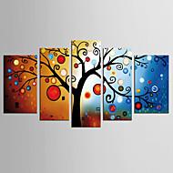 Canvas Set Abstract Bloemenmotief/Botanisch Europese Stijl Klassiek,Vijf panelen Canvas Elke vorm Print Art Muurdecoratie For