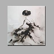 Handgeschilderde Abstract Mensen Vierkant,Modern Klassiek Eén paneel Canvas Hang-geschilderd olieverfschilderij For Huisdecoratie