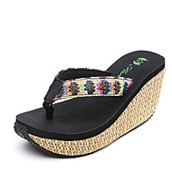 Women's Slippers & Flip-Flops Summer Slingback Polyester Casual Wedge Heel Others Black White Beige Walking