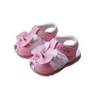 Jente Baby Sandaler Komfort PU Vår Sommer Høst Avslappet Komfort Sløyfe Applikasjon Flat hæl Hvit Fersken Rosa Flat