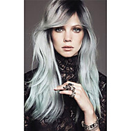 Long Silk Straight Black/silvery Grey Ombre Side Swept Bangs Synthetic Wig