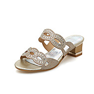Slippers & Flip-Flops Summer Comfort Customized Materials Party & Evening Dress Casual Chunky Heel Rhinestone Silver Gold Walking