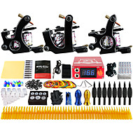 Solong Tattoo Complete Tattoo Kit 3 Pro Machines 54 Inks Power Supply Foot Pedal Needles Grips Tips TK352