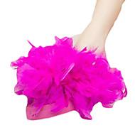 Ženske Papuče i japanke PU Ljeto Kauzalni Perje Ravna potpetica Obala Bijela Fuksija Pink Do 2.5 cm