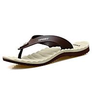 슬리퍼 플립 플롭-야외 캐쥬얼-남성-조명 신발-가죽 마이크로 섬유-플랫-화이트 브라운 블루