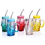 Neuheit Schädel geformt-Partei weckglas Tasse mit Stroh, 500 ml Glas Dekoration Saft Milch Kaffeetasse