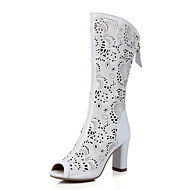 Women's Sandals Spring Summer Fall Club Shoes Cowhide PU Wedding Office & Career Party & Evening Chunky Heel Zipper Hollow-outWhite Blue