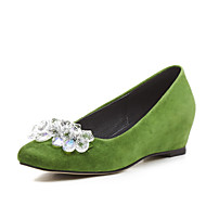 Flats Spring Summer Fall Winter Club Shoes Cashmere Office & Career Dress Casual Flat Heel Wedge Heel Rhinestone Black Green