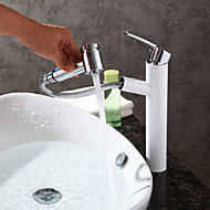 Contemporary Modern Centerset Pullout Spray with  Ceramic Valve Single Handle One Hole for  Painting , Bathroom Sink Faucet