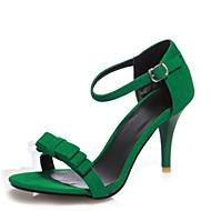 Damen-Sandalen-Büro Kleid Lässig-Samt-Stöckelabsatz-Club-Schuhe-Schwarz Grün Lila