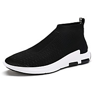 Men's Athletic Shoes Spring Summer Fall PU Outdoor Casual Athletic Flat Heel Black Gray Red Running