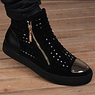Lær-Lav hæl-Komfort-Flate sko-Friluft Fritid-Sølv Gull