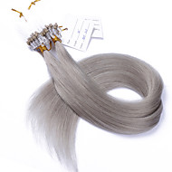 Best 10A Grade Popular Grey Color Micro Loop Ring Beads Hair Extensions Silky Straight 100grams Brazilian Virgin Human Hair Braids 14-28Inches