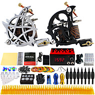 Solong Tattoo® Complete Tattoo Kit 2 Pro Machines 54 Inks Power Supply Foot Pedal Needles Grips Tips TK230