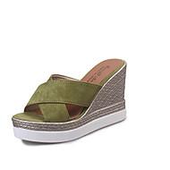 Slippers & Flip-Flops-Kleid Lässig-PU-Keilabsatz-Komfort-Schwarz Grün Grau Kamel