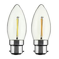 2W E26/E27 B22 フィラメントタイプLED電球 CA35 1 COB 200 lm 温白色 明るさ調整 AC 110-130 交流220から240 V 2個
