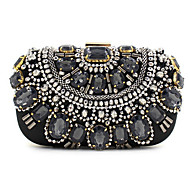 Women Bags All Seasons Polyester Silk Evening Bag with Sequin Crystal/ Rhinestone Acrylic Jewels for Wedding Event/Party Formal Black