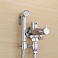 Bidet Faucets  ,  Contemporary Traditional  with  Chrome Two Handles One Hole  ,  Feature  for Wall Mount Pull out