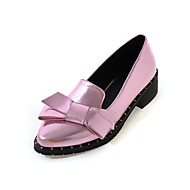 Women's Flats Spring Summer Fall Winter Other PU Outdoor Dress Casual Low Heel Chunky Heel Bowknot Pink Silver Gray Gold
