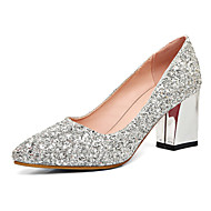 Heels Spring Summer Fall Club Shoes Synthetic Wedding Party & Evening Dress Chunky Heel Sequin Red Silver Gold