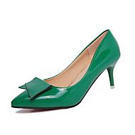 Női Magassarkúak Kényelmes PU Tavasz Kényelmes Stiletto Ezüst Bíbor Piros Zöld Rózsaszín 3 inch-3 3 / 4 inch