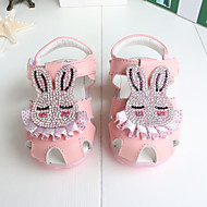 Baby Flats Summer First Walkers Cowhide Outdoor Casual Low Heel Rhinestone Magic Tape White Peach Pink Walking