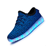Boy's Athletic Shoes Spring Summer Fall Winter Light Up Shoes Tulle Athletic Flat Heel LED Black Blue Pink White Running