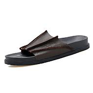 Γυναικεία παπούτσια-Παντόφλες & flip-flops-Ύπαιθρος Καθημερινό-Επίπεδο Τακούνι-Άλλο-PU-Μαύρο Καφέ
