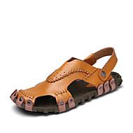 샌들-야외 캐쥬얼컴포트 조명 신발-가죽-플랫-블랙 브라운 화이트
