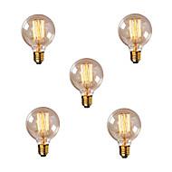 5pcs G80 årgang Edison pære glødende lyspære E27 40 W lyspære lyspære 220-240