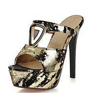 Feminino-Sandálias-Inovador Sapatos clube-Salto Agulha-Preto Dourado-Veludo Materiais Customizados-Social Casual Festas & Noite