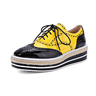 Sneakers Spring Summer Fall Winter Other Mary Jane Cowhide Outdoor Casual Work & Safety Flat Heel Split Joint Lace-up Yellow Red