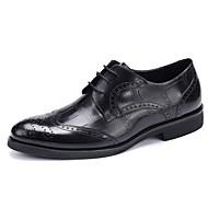 Черный Бордовый ТелесныйСвадьба Для офиса Повседневный Для вечеринки / ужина-Кожа-На плоской подошве-Баллок обувь-Туфли на шнуровке