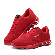 Men's Athletic Shoes Spring Fall Comfort Tulle Casual Flat Heel Lace-up Black Red Gray Walking