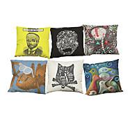 Set of 6 Retro abstract pattern Linen Pillowcase Sofa Home Decor Cushion Cover